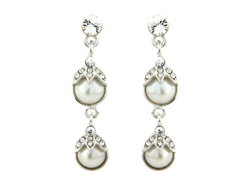 Swarovski crystal pearl wedding earrings, pearl drop bridal earrings